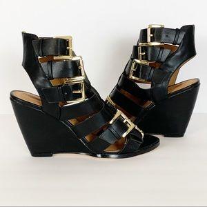 New w/o Box Leila Stone Black Leather Wedge 6.5